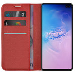 Leather Wallet Case & Card Slot Pouch for Samsung Galaxy S10+ (Red)